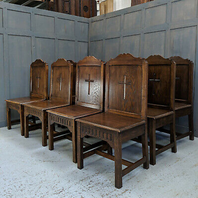 Outsize Vintage Oak Ministers Chairs from Norwich Central Baptist Church