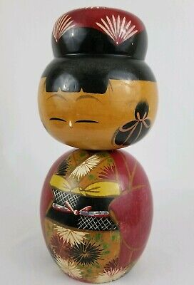 Vintage Japanese Sosaku wooden Kokeshi doll hand painted Bobble Head Nodder 9.5""