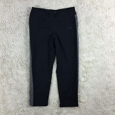 C9 By Champion Girl's Large(10-12)Athletic Leggings Gray Ruched Sides Cropped.D1
