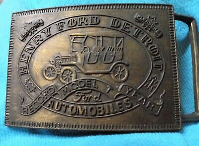 Vintage 1970s Henry Ford Detroit Automobiles Record Model Year Brass Belt Buckle