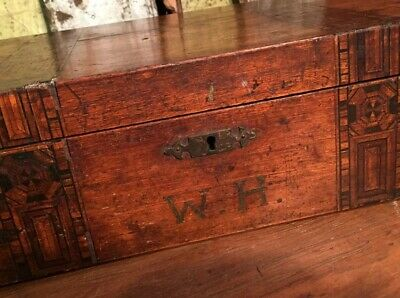 Antique Writing Slope Box Inlaid Marquetry