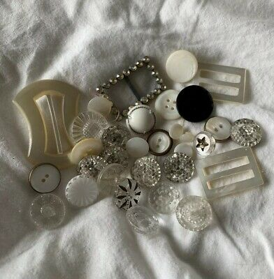Lot VTG Multi Color Mother of Pearl MOP Belt Buckles Buttons Glass Rhinestone