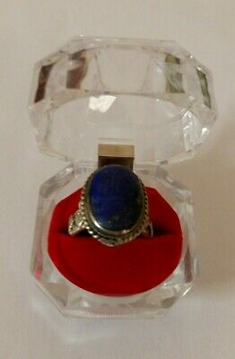 Arabic Islamic Silver Lapis Lazuli Ring Vintage Hand Carved Ring Size 10 US
