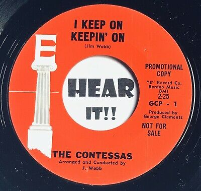 Girl Group Northern Soul 45 THE CONTESSAS I Keep On Keepin' E Records M- J. Webb