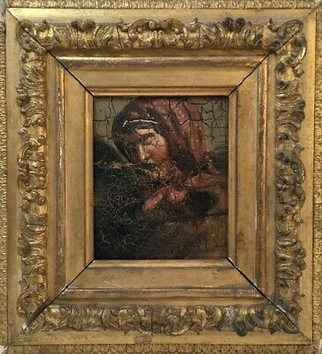 18th - 19th C Oil Painting Portrait Of A Lady. Antique Gilt Frame for rest