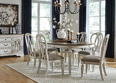 REGAL 7 piece Traditional Antique White & Brown Oval Dining Room Table Chair Set