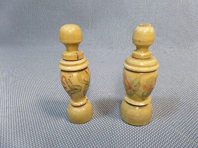 Lot of 2 Needle Holders Wood Wooden Twist Hand Painted