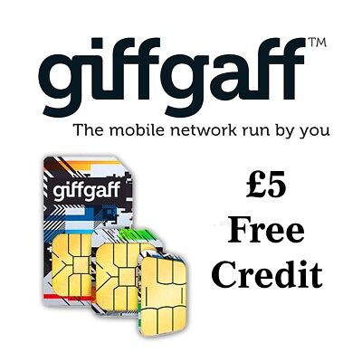 Giffgaff Pay As You Go Sim Card £5 Free Credit (Nano, Micro, Mini Sim)(053)