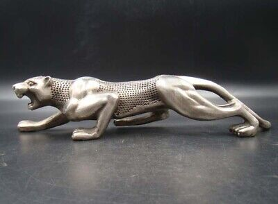 Collectible Handmade Carving Statue leopard panther Copper Silver Deco Art