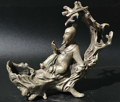 AAA Decorate Tibet Silver Carve Ancient Poet On Branch Big Statue China Artwork