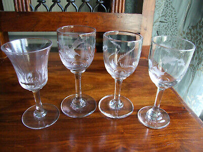 collection of 4 Antique Sherry /Liqueur / Small Wine Glasses Hand blown & etched