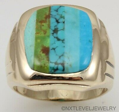 HEAVY Antique Art Deco RARE Natural Turquoise Inlay 10k Solid Gold Men's Ring