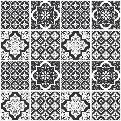 Black White Monochrome Mosaic / Pattern Tile Stickers for 6x6 In or 4x4 In t178