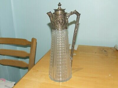 Victorian. Solid Silver  And Glass Claret Jug 1876