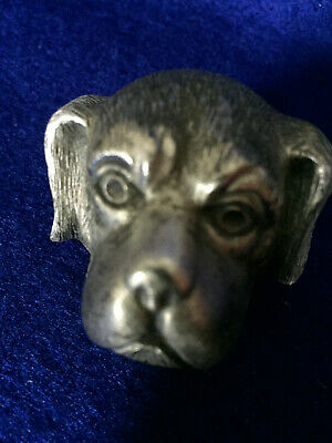 Thimble Guard in Shape of Dog's Head; Pewter