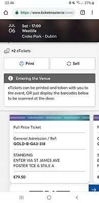 2 Tickets Westlife Dublin Croke Park - 6th July - Golden Circle B