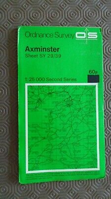 """Ordnance Survey 2.5"""" Map SY29/39 Axminster 1973 Lyme Regis Seaton Beer Charmouth"""