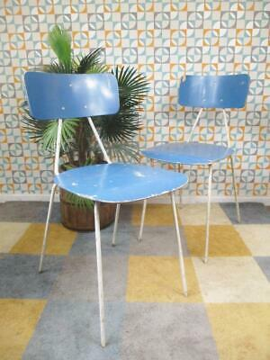 Pair Of Vintage 50's Metal & Blue Ply Dining Chairs Mid-Century Industrial Retro