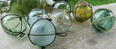 """Japanese Glass Fishing FLOATS 2"""" LOT-7 Mixed Hues Netted Mark Authentic Antiques"""