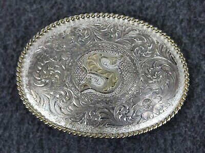 Vintage Letter *S* Silver Plate Montana Silversmiths Belt Buckle