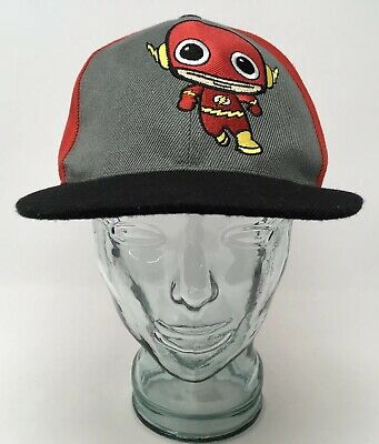 reputable site 2a777 a3ef6 Six Flags DC Comics The Flash Baseball Cap Hat OSFM Adult Strap Back Red  Gray