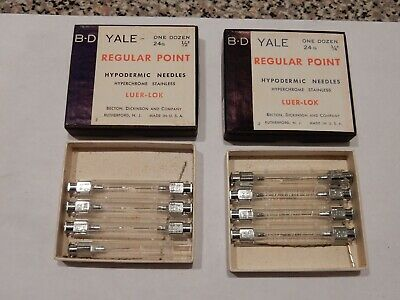 VINTAGE B-D YALE HYPODERMIC NEEDLE ASSORTMENT 24 Gauge