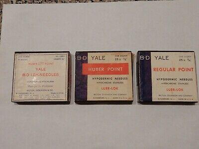 VINTAGE B-D YALE HYPODERMIC NEEDLE ASSORTMENT 25 Gauge