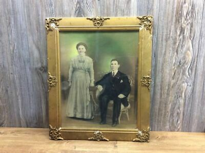 Antique Double Portrait Tinted Early Victorian Colorized Husband And Wife A9
