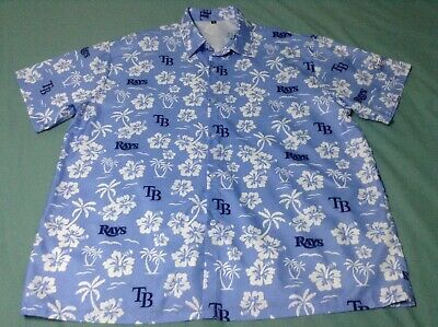 New Men's Mlb Tampa Bay Rays Xl Blue Short Sleeve Hawaiian Shirt.    Nwot