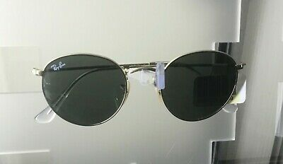 New Ray-Ban RB3447 001 Round Metal Gold Frame/Green Classic G-15 Lens Sunglasses