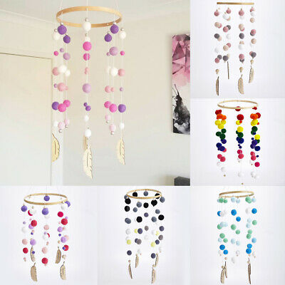 Natural Pom Pom Wind-bell Pram Cot Crib Wooden Feather Mobile Nursery Decor Toys