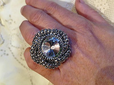 Nemesis Vintage Style Silver plate Gothic Clear Austrian Crystal Ring