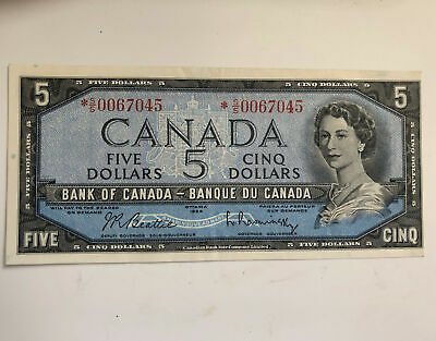 Canada 1954 $5 BC-39ba Modified Replacement Bank Note Beattie Raminsky