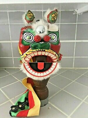 Vintage Chinese Paper Mache Lion/Dragon Parade Puppet Mask Small