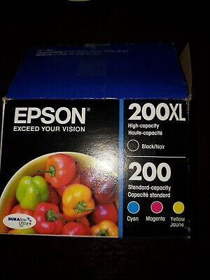 4-PACK Epson GENUINE 200 Color Ink New Sealed Retail Box200XL Black Missing