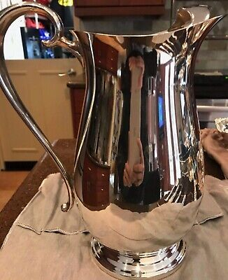 ✨ Silver Plated Water Pitcher Ice Catcher & Dust Bag Vintage F.B. Rogers Jug