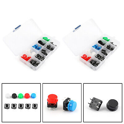 Tact Commutateur + Bouton Rond Cap Micro Switch 12 * 12 * 7.3mm 5 Kit Couleur FR