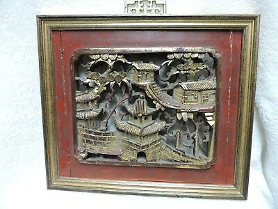 Vintage Chinese Carved Wood Wall Hanging