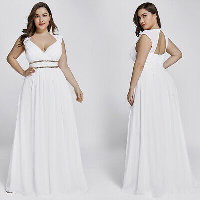 688607e2af81 Ever-Pretty Plus Evening Dress Beaded Wedding White Formal Bridesmaid Gown  08697