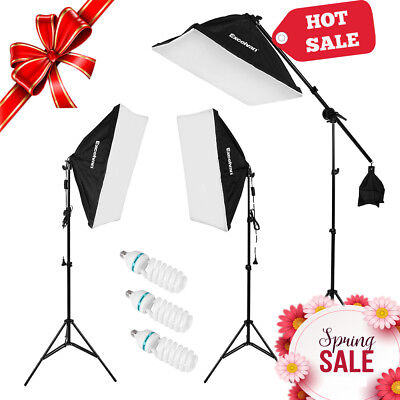 Excelvan Adjustable Photo Studio LED Continuous Lighting Kit LED+lampe 3*135W FR