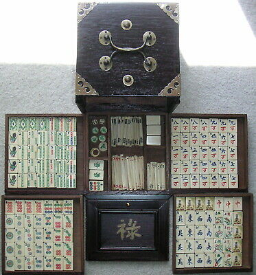 1920/30'S Bone & Bamboo Mah Jong Set With Wooden Chest & (152) Tiles Complete