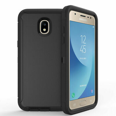 For Samsung Galaxy J3 2018 Rugged Hybrid Armor Case (Clip fit Otterbox Defender)