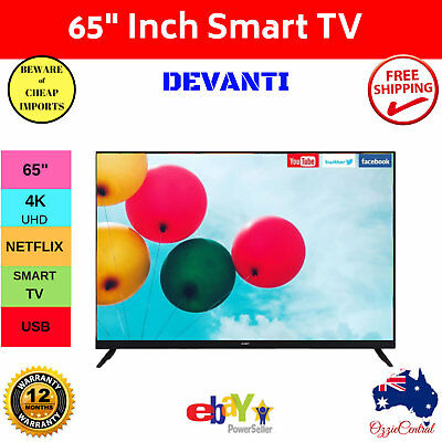 "HD 65"" Inch Smart TV  DEVANTI 4K UHD HDR LED LCD Slim Thin LG Screen Netflix"