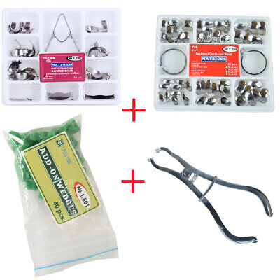 Dental Sectional Contoured Metal Matrices Kit + Plier + Add On Wedges Rubber