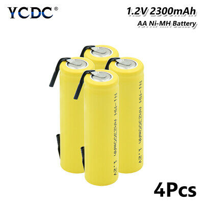 4Pcs 1.2V 2300mAh Ni-MH AA Battery With Tabs Rechargeable For Torch Headlamp 8A