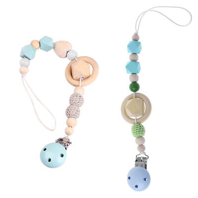 1xBaby Teether Anti Lost Wood Beads Strap Chain Clip Kids Pacifier Hanging Rope