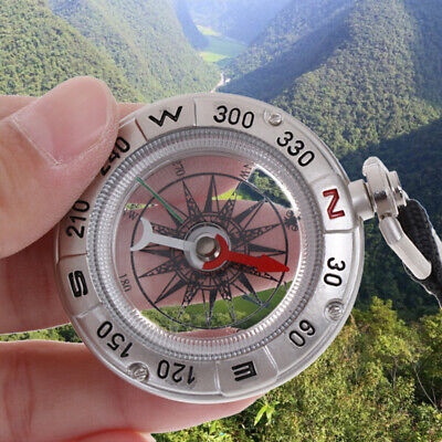 Pocket Aluminum Alloy Outdoor Camping Hiking Navigation Compass Ring Keychain ^S
