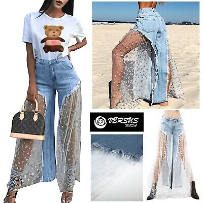 Jeans Pantaloncini Donna con Tulle Woman Denim Shorts and Tulle Jeans It