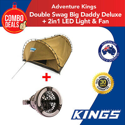 Adventure Kings Double Swag Big Daddy Deluxe + Kings 2 in 1 LED Light & Fan