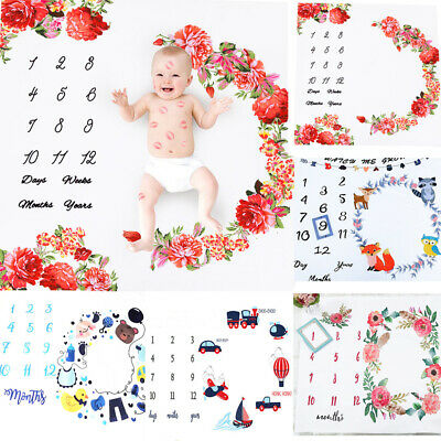 Baby Girl Boy Floral Cotton Blanket Milestone Photography Photo Props Shoots AU